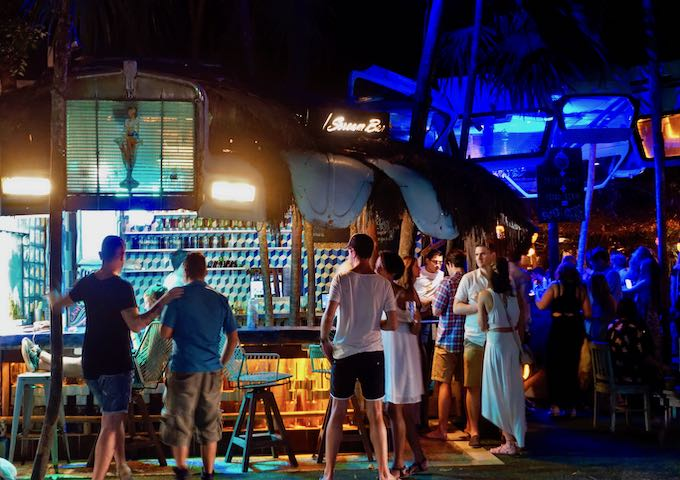 Night scene at I Scream Bar in Tulum
