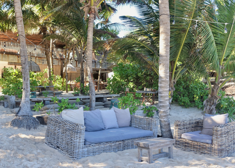 lounge chairs at beach