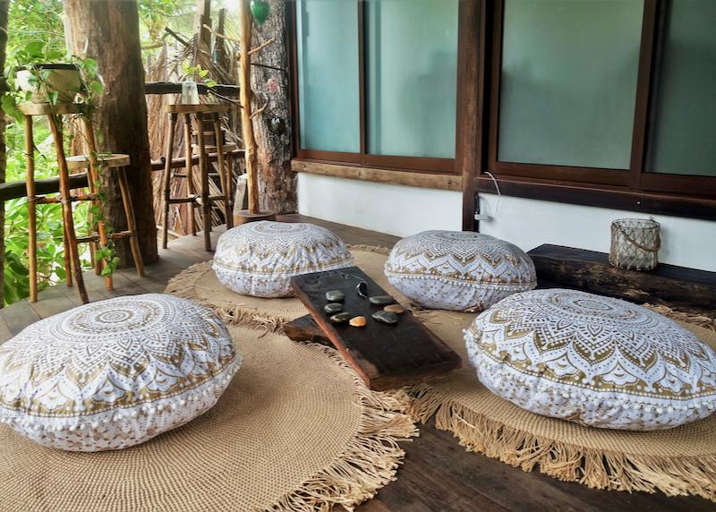 spa pillows on patio