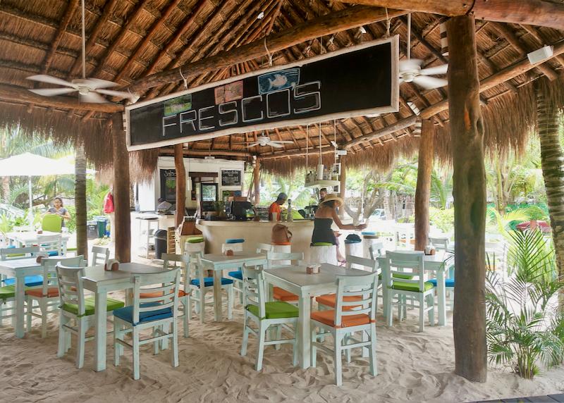 outdoor restaurant in the sand